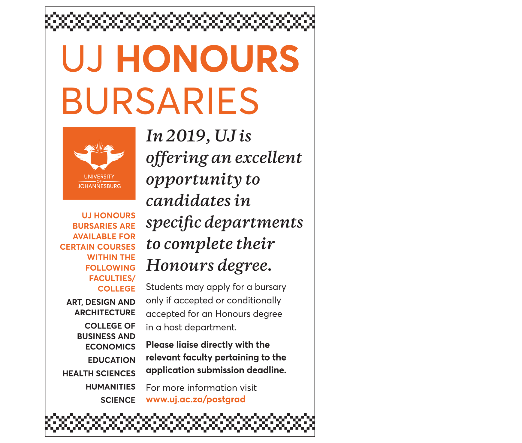 UJ Honours Bursary Opportunity